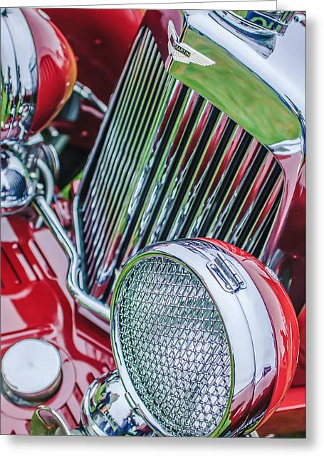 1934 Aston Martin Mark II Short Chassis 2-4 Seater - Grille Emblem -0867c Greeting Card by Jill Reger