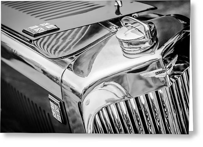 1934 Aston Martin Mark II Short Chassis 2-4 Seater - Grille Emblem -0922bw Greeting Card by Jill Reger