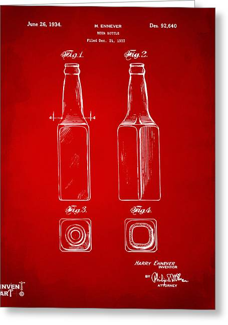 Drinkers Greeting Cards - 1934 Beer Bottle Patent Artwork - Red Greeting Card by Nikki Marie Smith