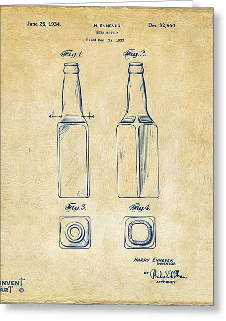 Beer Bottle Greeting Cards - 1934 Beer Bottle Patent Artwork - Vintage Greeting Card by Nikki Marie Smith