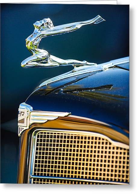 1934 Greeting Cards - 1934 Buick Series 96-C Convertible Coupe Hood Ornament - Emblem Greeting Card by Jill Reger