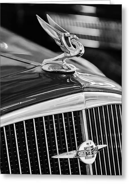 1934 Greeting Cards - 1934 Chevrolet Hood Ornament -Emblem Greeting Card by Jill Reger
