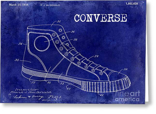 Jordan Photographs Greeting Cards - 1934 Converse Shoe Patent Drawing Blue Greeting Card by Jon Neidert