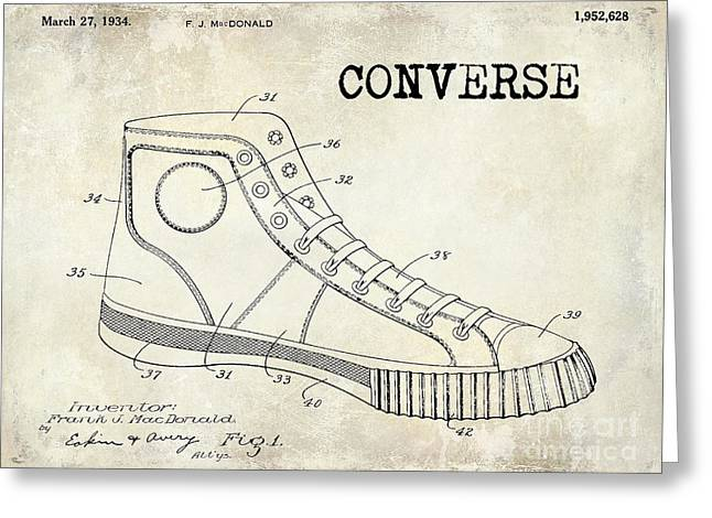 Jordan Photographs Greeting Cards - 1934 Converse Shoe Patent Drawing Greeting Card by Jon Neidert