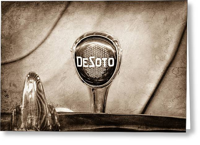 1934 Greeting Cards - 1934 DeSoto Airflow Coupe Taillight Emblem Greeting Card by Jill Reger