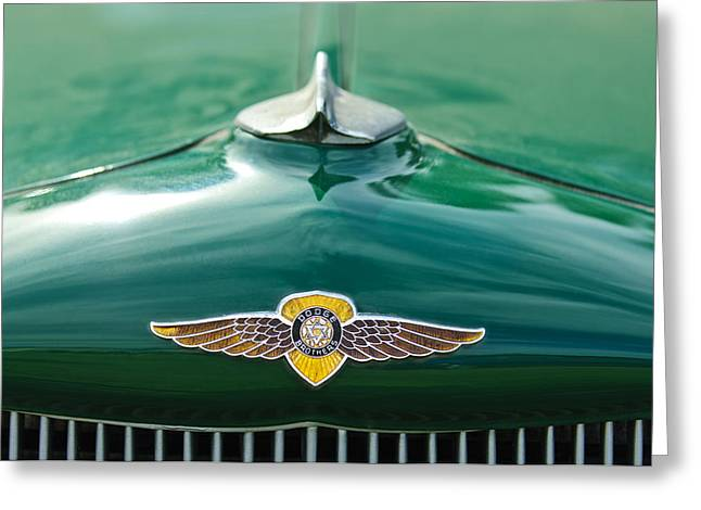 Collector Hood Ornament Greeting Cards - 1934 Dodge Hood Ornament Emblem Greeting Card by Jill Reger