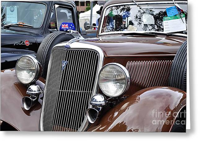 1934 Ford 6 Wheel Equip Front End Greeting Card by Kaye Menner