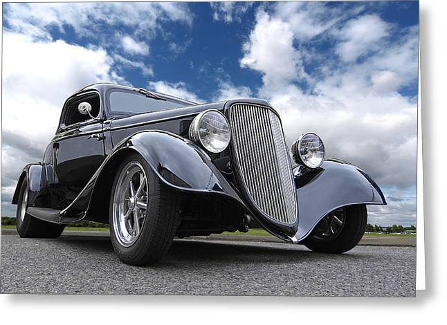 Classic Ford Roadster Greeting Cards - 1934 Ford Coupe Greeting Card by Gill Billington