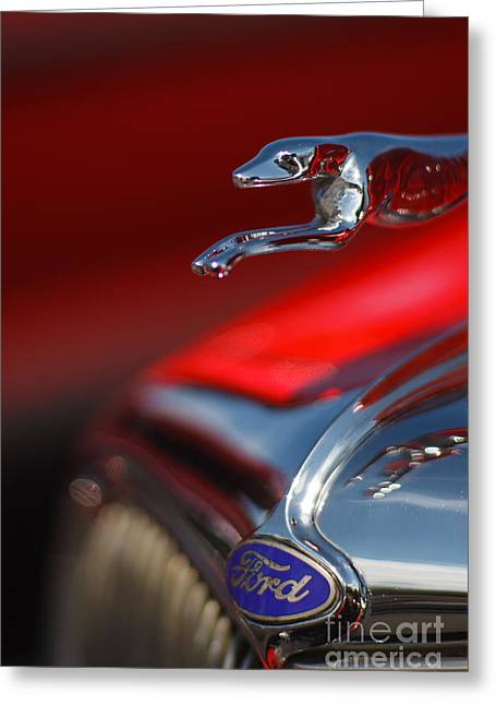 Collector Hood Ornament Greeting Cards - 1934 Ford Coupe Hood Ornament with Ford Emblem Greeting Card by T Lowry Wilson
