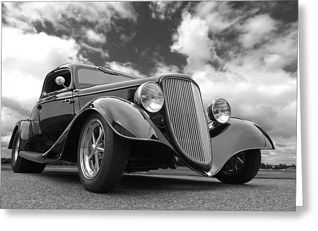 Monochrome Hot Rod Greeting Cards - 1934 Ford Coupe in Black and White Greeting Card by Gill Billington