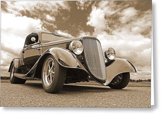 Classic Ford Roadster Greeting Cards - 1934 Ford Coupe in Sepia Greeting Card by Gill Billington