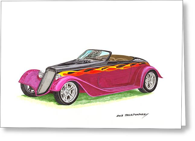Completely Greeting Cards - 1934 Ford custom roadster Greeting Card by Jack Pumphrey