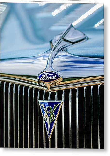 1934 Greeting Cards - 1934 Ford Deluxe Hot Rod Emblem Greeting Card by Jill Reger
