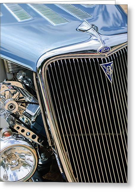 1934 Ford Deluxe Hot Rod Grille Emblem Greeting Card by Jill Reger
