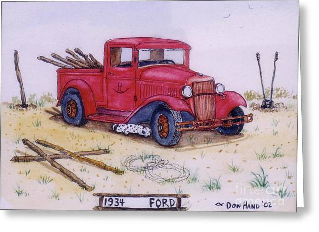 Old Fence Posts Mixed Media Greeting Cards - 1934 Ford Greeting Card by Don Hand