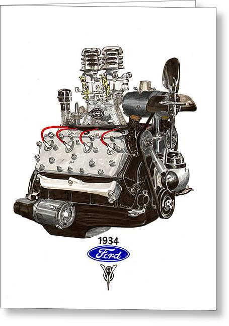 Important Drawings Greeting Cards - 1934 Ford Flathead V 8  Greeting Card by Jack Pumphrey