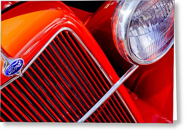 Classic Pickup Greeting Cards - 1934 Ford Pickup Truck Grille Emblem Greeting Card by Jill Reger
