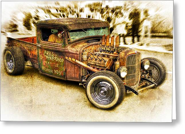 Custom Ford Greeting Cards - 1934 Ford Rusty Rod Greeting Card by motography aka Phil Clark