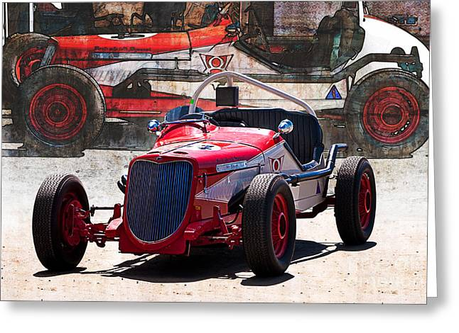 Indy Car Greeting Cards - 1934 Ford V8 Indy Special - Front Quarter View Greeting Card by Stuart Row