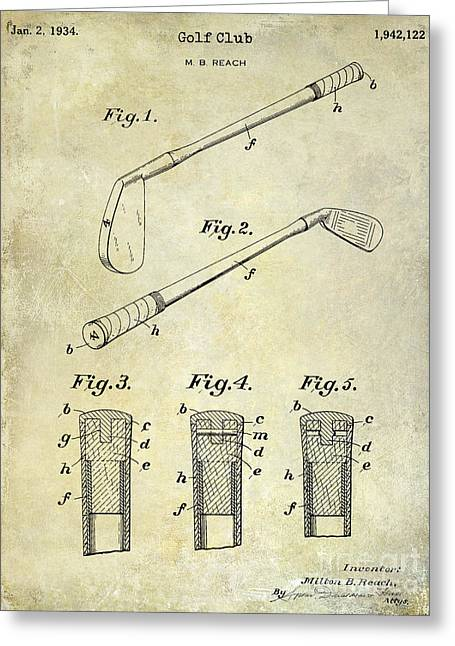 Lpga Greeting Cards - 1934 Golf Club Patent Drawing Greeting Card by Jon Neidert