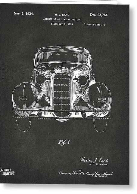 1930s Greeting Cards - 1934 La Salle Automobile Patent 1 Artwork - Gray Greeting Card by Nikki Marie Smith
