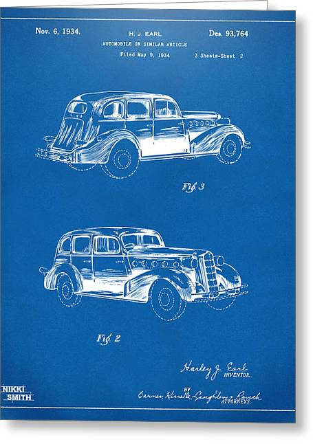 1930s Greeting Cards - 1934 La Salle Automobile Patent Artwork 2 - Blueprint Greeting Card by Nikki Marie Smith