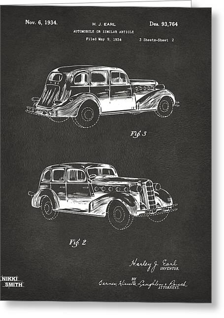 1930s Greeting Cards - 1934 La Salle Automobile Patent Artwork 2 - Gray Greeting Card by Nikki Marie Smith