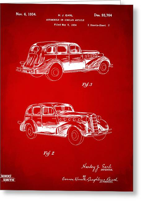 1930s Greeting Cards - 1934 La Salle Automobile Patent Artwork 2 - Red Greeting Card by Nikki Marie Smith