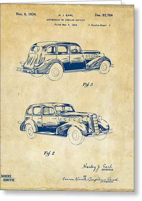 1930s Greeting Cards - 1934 La Salle Automobile Patent Artwork 2 - Vintage Greeting Card by Nikki Marie Smith