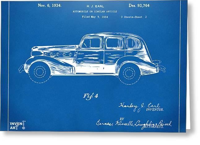 Automobile Artwork. Greeting Cards - 1934 La Salle Automobile Patent 3 Artwork Blueprint Greeting Card by Nikki Marie Smith