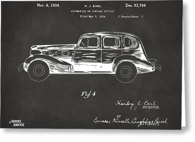 Automobile Artwork. Greeting Cards - 1934 La Salle Automobile Patent 3 Artwork - Gray Greeting Card by Nikki Marie Smith