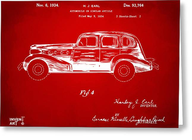 Automobile Artwork. Greeting Cards - 1934 La Salle Automobile Patent 3 Artwork Red Greeting Card by Nikki Marie Smith