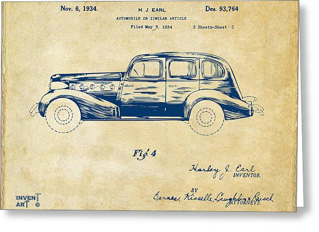 Auto Drawings Greeting Cards - 1934 La Salle Automobile Patent 3 Artwork Vintage Greeting Card by Nikki Marie Smith
