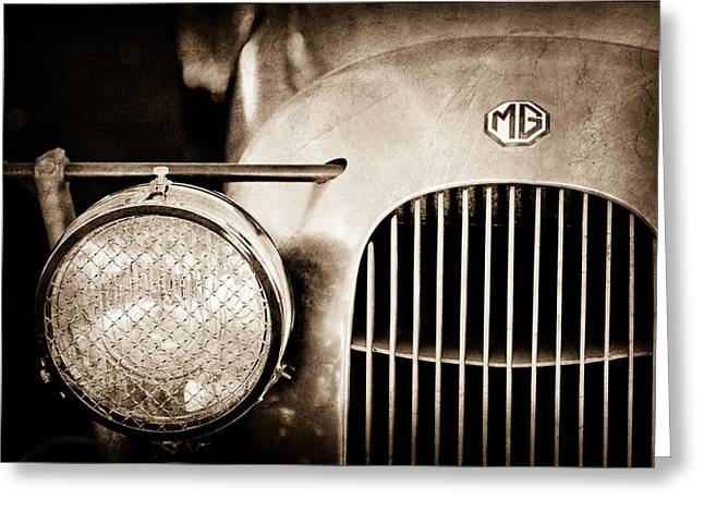 Supercharged Greeting Cards - 1934 MG PA Midget Supercharged Special Speedster Grille - Emblem Greeting Card by Jill Reger