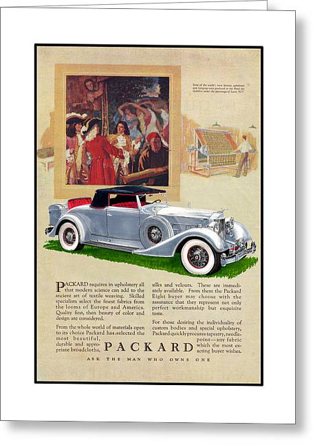 Advertising Mixed Media Greeting Cards - 1934 Packard 12   1107 Roadster Vintage ad Greeting Card by Jack Pumphrey
