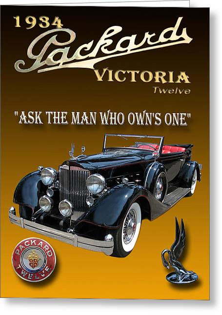 Car Framed Prints Greeting Cards - 1934 Packard Greeting Card by Jack Pumphrey