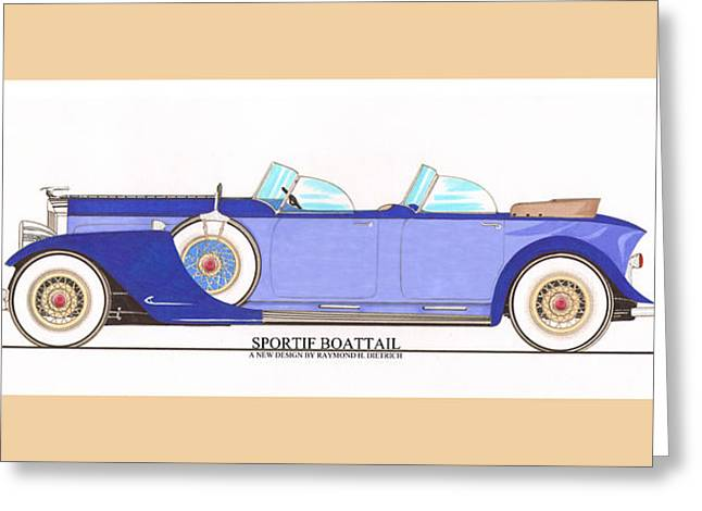 Sportif Greeting Cards - 1934 Packard Sportif Boattail Concept by Dietrich Greeting Card by Jack Pumphrey