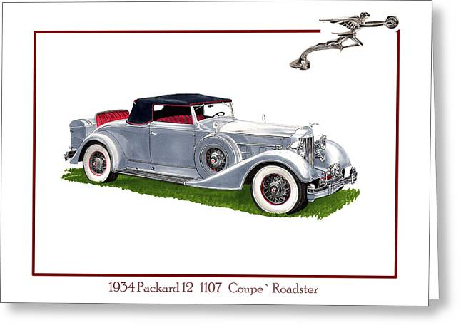 Antenna Drawings Greeting Cards - 1934 Packard Twelve 1107 Coupe Greeting Card by Jack Pumphrey