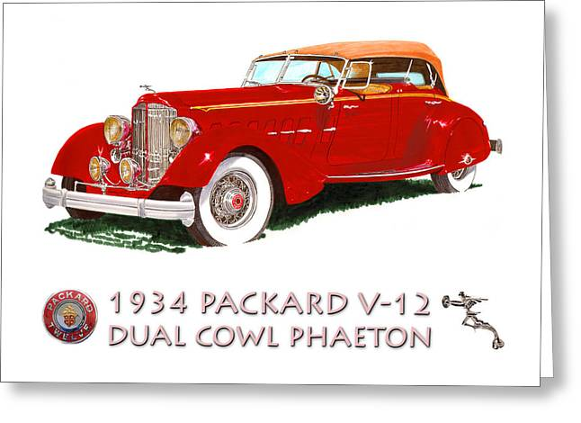 First-rate Greeting Cards - 1934 Packard V-12 Dual Cowl Phaeton Greeting Card by Jack Pumphrey