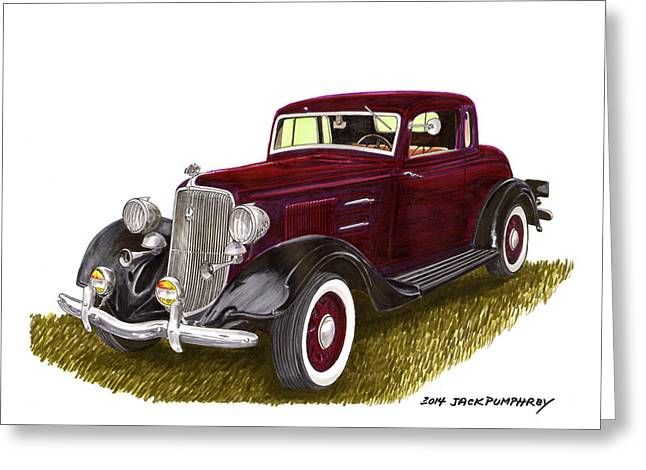 Suspension Drawings Greeting Cards - 1934 Plymouth P E Coupe Greeting Card by Jack Pumphrey