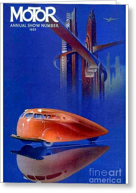 Recently Sold -  - March Greeting Cards - 1935 - Motor Magazine Cover - Annual Auto Show - Scarab Automobile - Color Greeting Card by John Madison