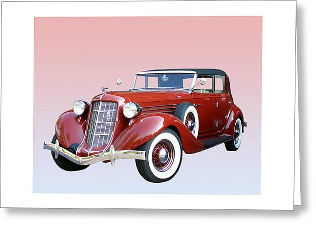 American Automobiles Greeting Cards - 1935 Auburn 8 Phaeton 851 Greeting Card by Jack Pumphrey