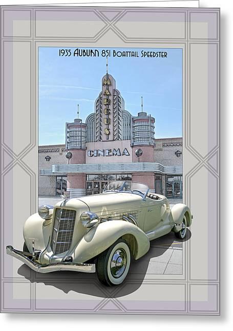 851 Greeting Cards - 1935 Auburn 851 Boattail Speedster Greeting Card by Roger Beltz