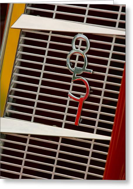 851 Greeting Cards - 1935 Auburn 851 Cabriolet Grille Emblem Greeting Card by Jill Reger