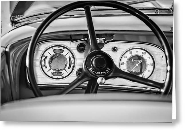 Supercharged Greeting Cards - 1935 Auburn 851 Supercharged Boattail Speedster Steering Wheel -0862bw Greeting Card by Jill Reger