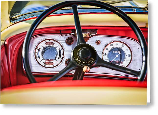 Supercharged Greeting Cards - 1935 Auburn 851 Supercharged Boattail Speedster Steering Wheel Greeting Card by Jill Reger