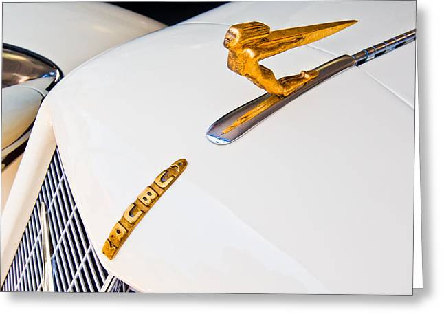 Collector Hood Ornament Greeting Cards - 1935 Auburn Boat Tail Speedster Hood Ornament Greeting Card by Jill Reger