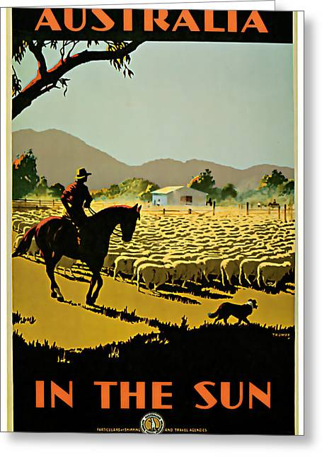Old Country Roads Mixed Media Greeting Cards - 1935 Australia in the Sun - Vintage travel Art Greeting Card by Presented By American Classic Art