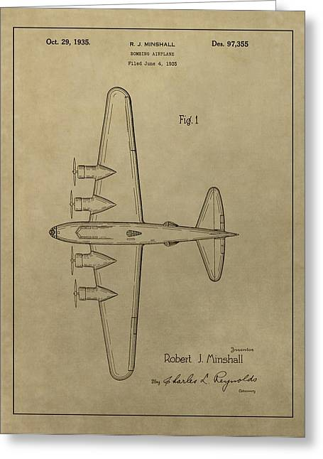 Airplane Greeting Cards - 1935 Bombing Airplane Patent Greeting Card by Dan Sproul