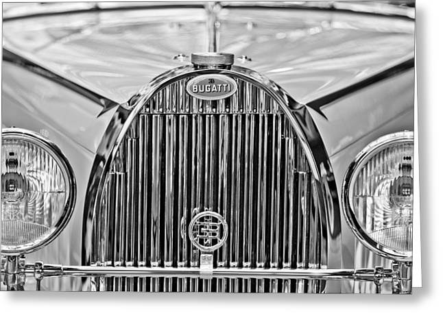 Roadster Grill Greeting Cards - 1935 Bugatti Type 57 Roadster Grille Emblem Greeting Card by Jill Reger